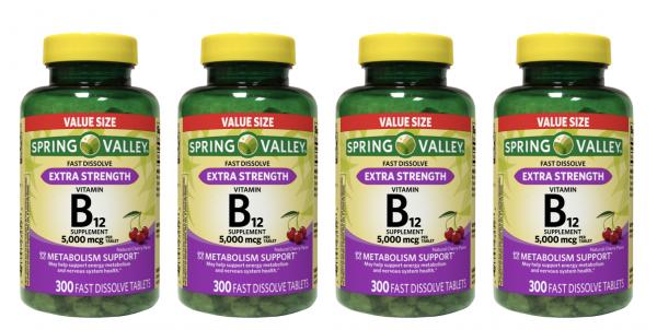 Spring Valley Extra Strength Vitamin B12 Fast Dissolve 5000 mcg 1200 Tablets