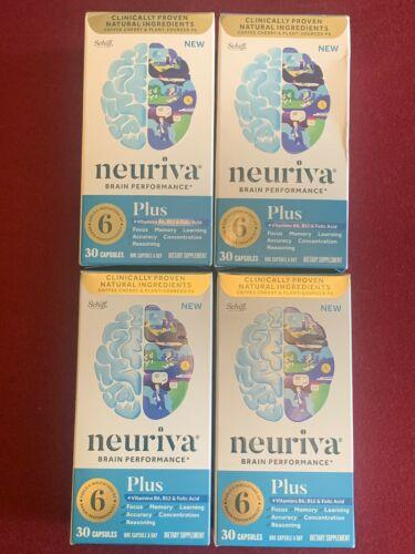 4 BOXES Schiff Neuriva Plus Fast-Acting Brain Performance 30 ct X4=120 EXP 2022