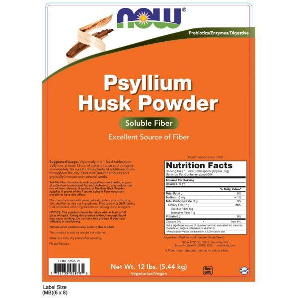NOW Foods Psyllium Husk Powder, 12 lbs. 1