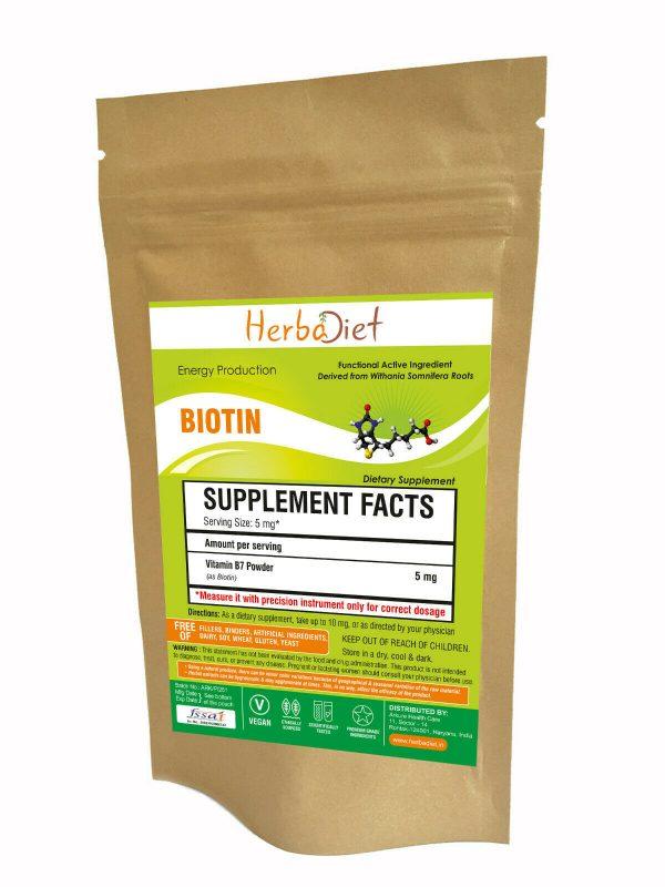 Biotin Vitamin B7 Powder 100% Pure Hair Skin & Nails 10,000 mcg Maximum Strength