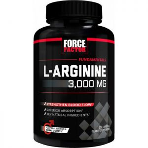 Force Factor L-Arginine 3000mg, Extra Strength Nitric Oxide 150caps Selenium