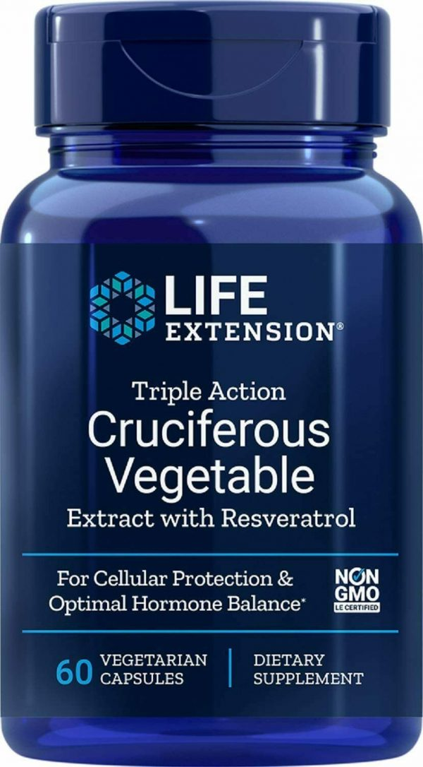 Life Extension 3X Cruciferous Vegetable Extract W/Resveratrol 60 Vcaps - 3 pack