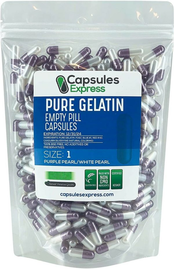 Capsules Express- Size 1 Purple Pearl & White Pearl Empty Gelatin Capsules Pill