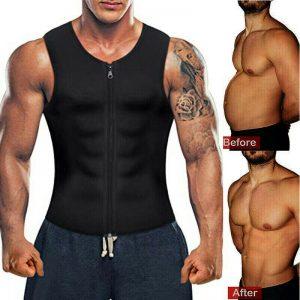 Men's Sweat Sauna Waist Trainer Zip Vest Weight Loss Top Neoprene Body Shaper US