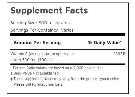 Vitamin E Powder D-Alpha Tocopheryl Acetate Lab Tested PureBulk (Variations) 1