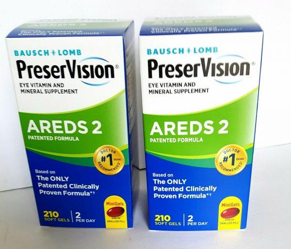 2X BAUSCH+LOMB PreserVision AREDS 2 Eye Vitamin&Mineral FORMULA 210 x2=420 Gels