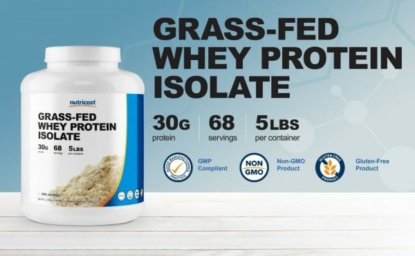 Nutricost Grass-Fed Whey Protein Isolate (Unflavored) 5LBS  1
