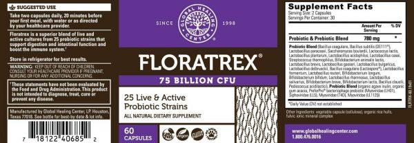 Global Healing Floratrex™ 25 Probiotic Strains with Prebiotics - 75 Billion CFU 1