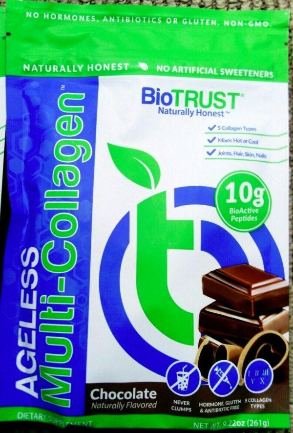 LOT OF 4!~BioTrust Ageless Multi Collagen Chocolate Powder Mix 261g PER BAG 2023 1