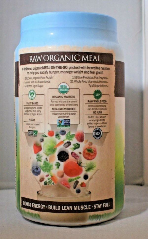 Garden Of Life Raw Meal Chocolate 35.9oz Gluten Free Meal Replacement Lot of (2) 3