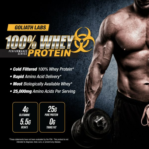 Goliath labs 100% Whey Protein Powder 10LB Isolate/blend protein 136 servings 2