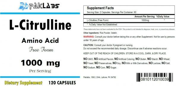 L-Citrulline 120 Capsules Cardiovascular Health 1000mg High Potency Big Bottle 1