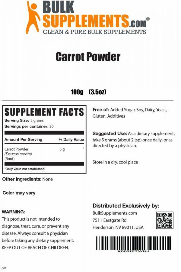 BulkSupplements.com Carrot Powder - Powdered Greens Supplement - Food Powders 1