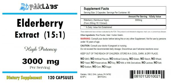 Elderberry Extract 15:1 High Potency 15 times Stronger 3000mg 120 CAPSULES 1