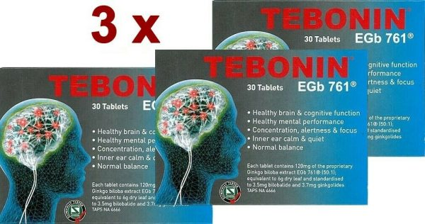 3 x Tebonin EGb 761 Tablets 30 Healthy Brain & Inner ear calm & quiet w Ginkgo