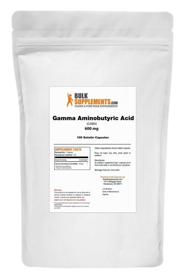 BulkSupplements.com Gamma Aminobutyric Acid (GABA) 750mg Powder - Focus Aid 5