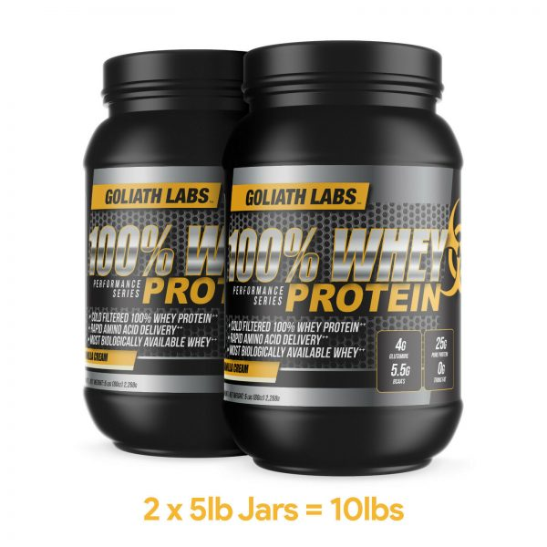 Goliath labs 100% Whey Protein Powder 10LB Isolate/blend protein 136 servings 3