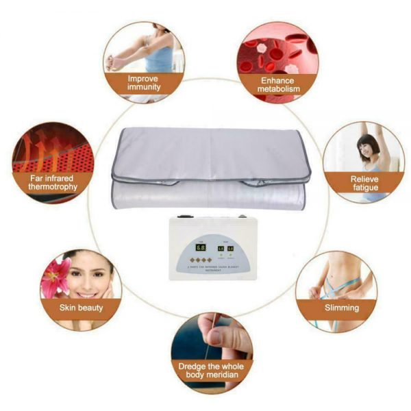 Far Infrared Sauna Blanket 2 Zone Slimming Weight Digital Controller Spa Beauty 7