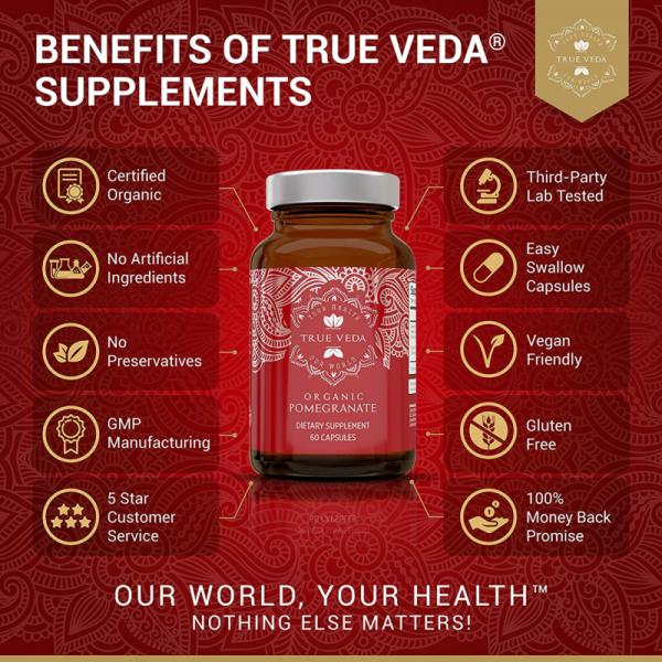 2 Bottles POMEGRANATE Supplement Antioxidant Blood Pressure Support TRUE VEDA 2
