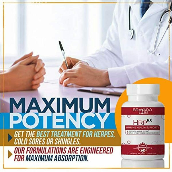 Premium Herpes Treatment Supplement - HrpRX - with L-Lysine, Vitamin C and Zinc  4