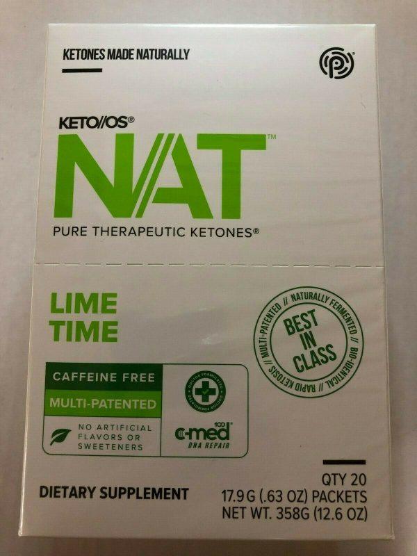 Pruvit Keto OS NAT Ketones LIME TIME Caffeine Free 20 Packets EXP: 05/2022