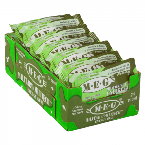 MEG - Military Energy Gum | 100mg caffeine pc | Spearmint 24 Pack (120 Count)