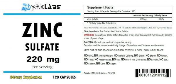 ZINC as Zinc Sulfate 220mg High Potency 120 Capsules Big Bottle USA SHIPPING 1