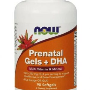 NOW Foods Pre-Natal Multivitamin w/ DHA Softgels,90 Count.  Lot of 8 Bottles