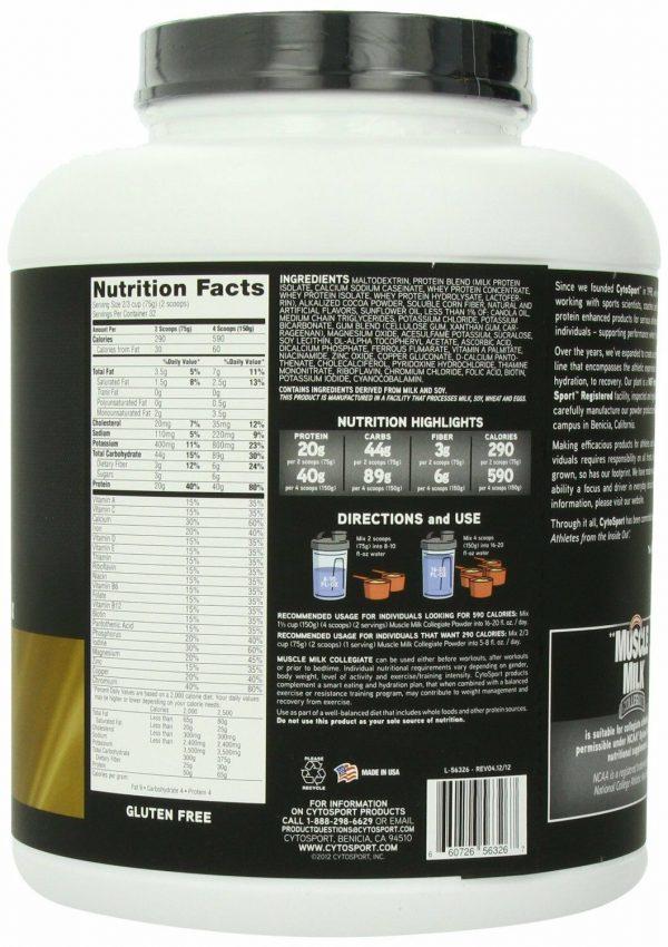 CYTOSPORT MUSCLE MILK Collegiate 5.29 lb. Powder - Chocolate 1