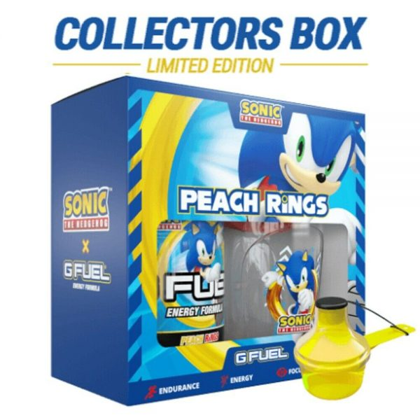 G Fuel Sonic Peach Rings Collector's Box Tub + Shaker Cup + 2GO Scooper Energy 2