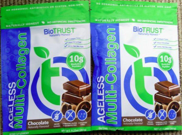 LOT OF 4!~BioTrust Ageless Multi Collagen Chocolate Powder Mix 261g PER BAG 2023 3