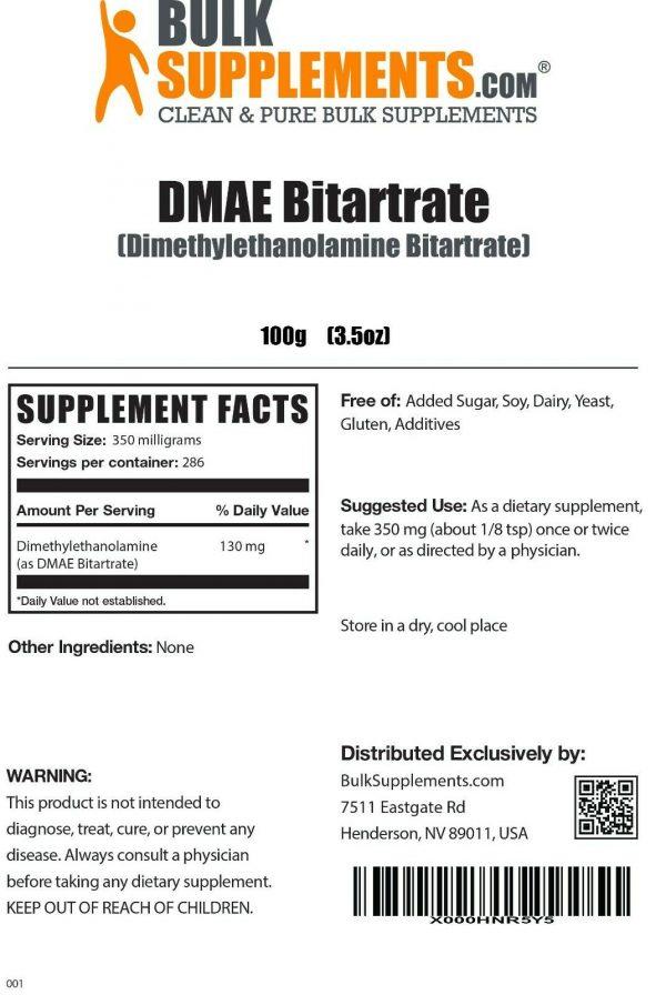 BulkSupplements.com DMAE-Bitartrate Powder - Mental Focus Supplement - ATP 1