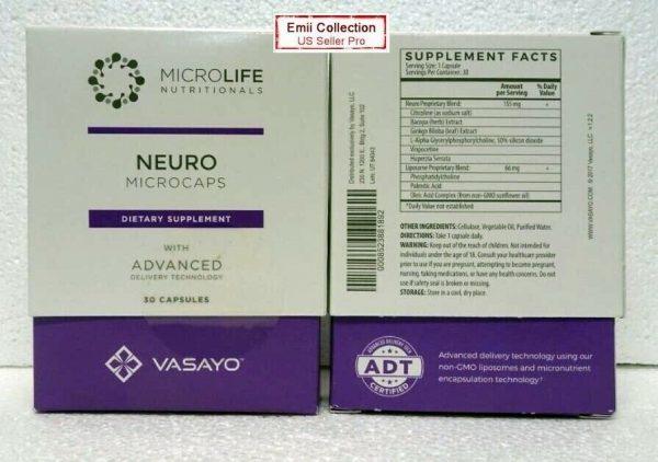 Vasayo MicroLife Neuro Brain Natural Supplements Liposomes 30 Capsules Exp 10/21 1