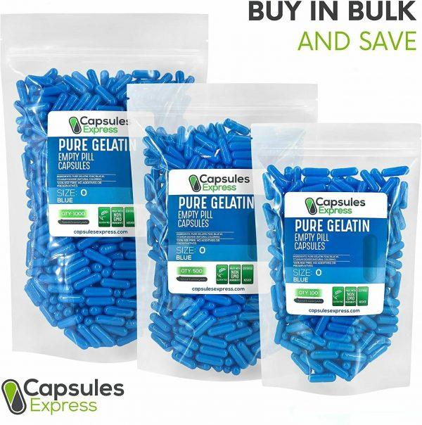 Capsules Express- Size 0 Blue Empty Gelatin Capsules Gelcaps Kosher DIY Caps Gel 4