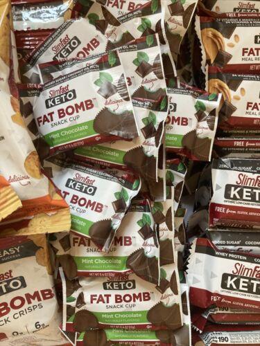80 SlimFast Keto Meal Bars & Fat Bomb Snacks, Chocolate, Mint, Cheese Read Desc 2