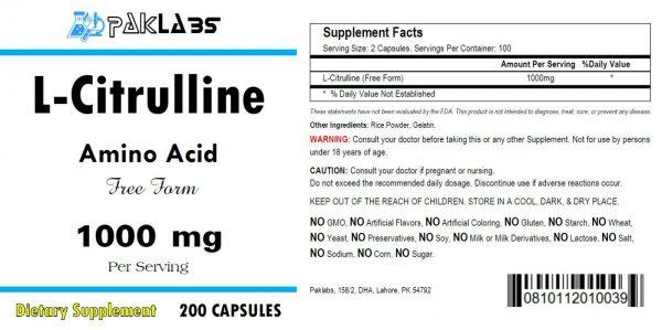 L-Citrulline 200 Capsules Cardiovascular Health 1000mg High Potency ==SALE== 1