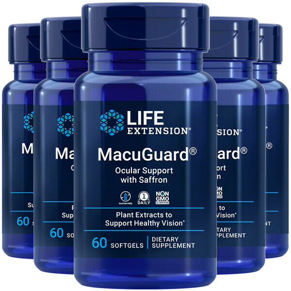MacuGuard Ocular Support with Saffron 5X60 gels Phospholipids Life Extension