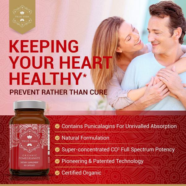 2 Bottles POMEGRANATE Supplement Antioxidant Blood Pressure Support TRUE VEDA 3