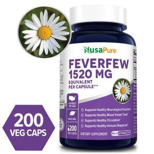 NusaPure Feverfew 1520mg - 200 Veg Caps (Non-GMO & Gluten-free)