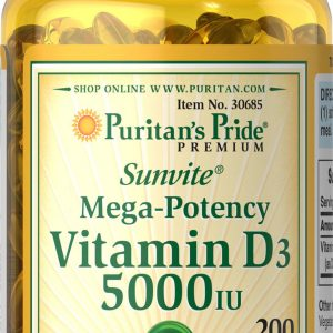 Puritan's Pride Vitamin D3 5000 IU - 200 Softgels