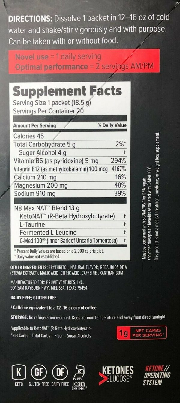New Pruvit Keto NAT Maui Punch Charged 10 Pack Drink Packets** 3