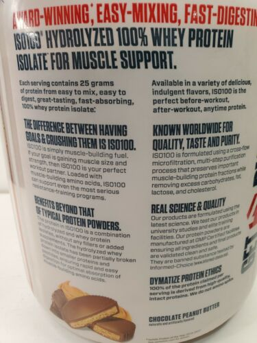 Dymatize ISO100 Hydrolyzed Isolate Protein Chocolate Peanut Butter, 3LB 1.36 Kgs 4