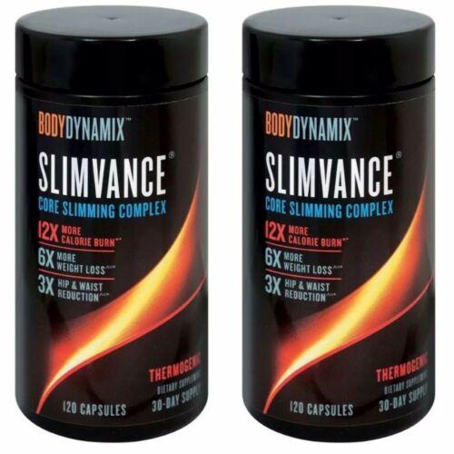 x2 Bodydynamix Slimvance Core Slimming Complex - 120CAPS Each , Exp 04/22