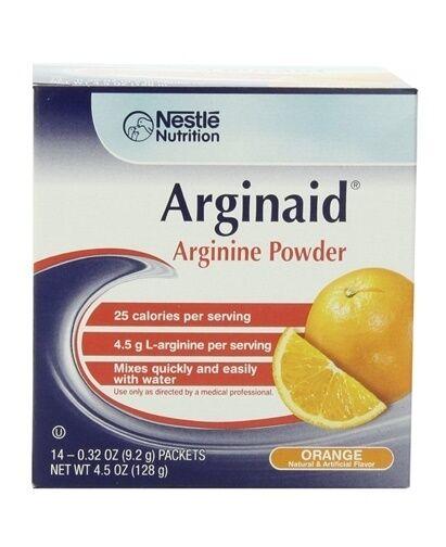 Arginaid Orange, Arginine Powder, 9.2 Gram Packet, by Nestle - Case of 56