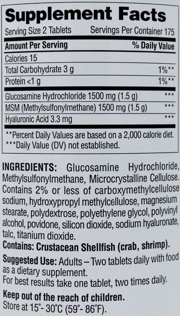 Member Mark Glucosamine HCI 1500mg MSM Hyaluronic Acid Joint Health 350 Tablets 1