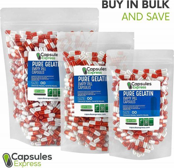Capsules Express Size 00 Pearl Orange & White Empty Gelatin Capsules Kosher Gel 4