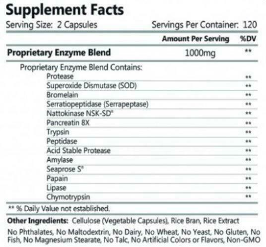 Fibrenza - by HCP Formulas - 240 Capsules - 500 mg - Systemic Enzyme 1