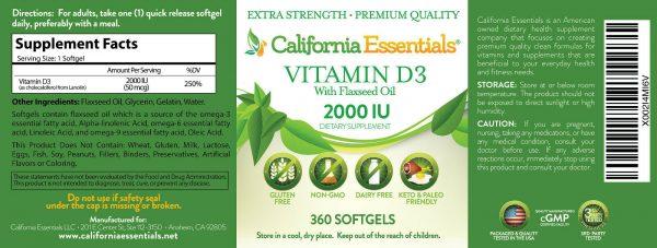 BOOST IMMUNITY & BONE HEALTH-VITAMIN D3 2,000iu SOFTGEL IN FLAXSEED OIL 3