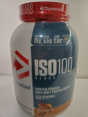 Dymatize ISO100 Hydrolyzed Isolate Protein Chocolate Peanut Butter, 3LB 1.36 Kgs