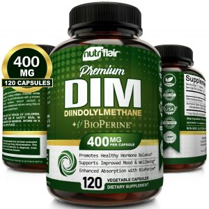 DIM Supplement 400mg with BioPerine, 120 Capsules - Menopause, PCOS, Acne, Skin